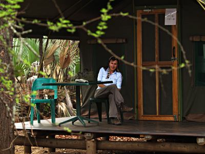 Una tienda de campaña en uno de los campamentos del Kruger