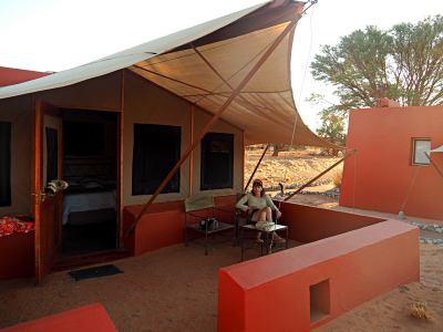 En mi tienda a la entrada del Desierto de Namib