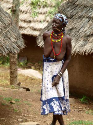 Una mujer en un poblado Bassari