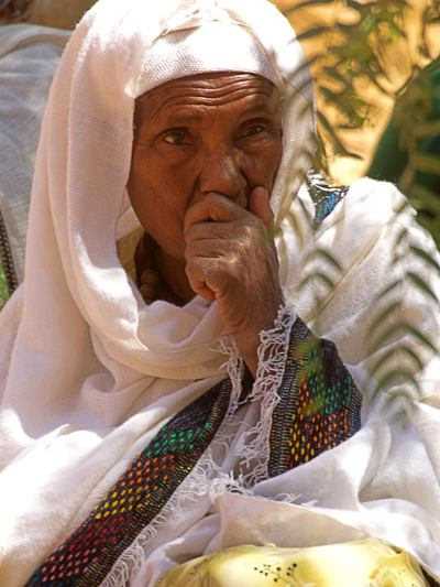 Una mujer durante un entierro en LaLibela