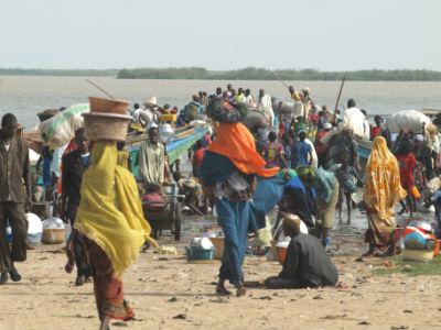 Ambiente en la isla de Kofia en el Lago Chad