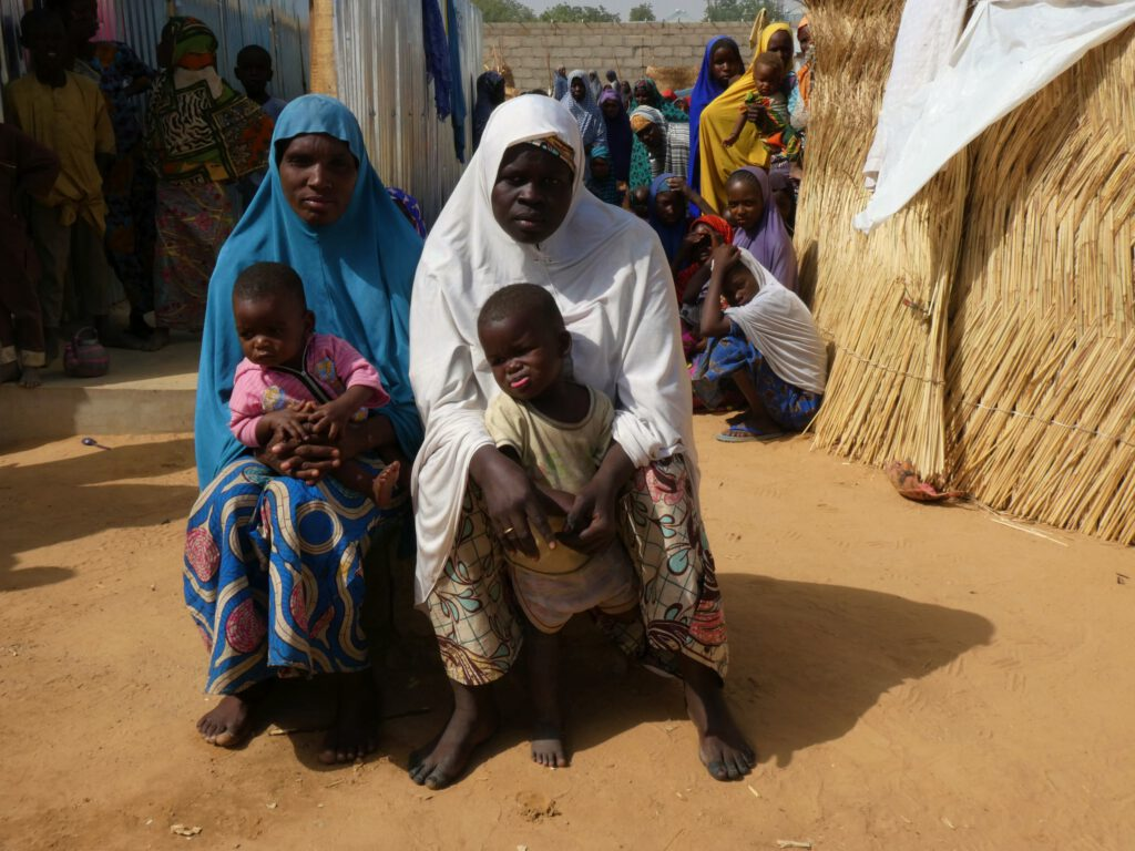 Las dos ultimas recién llegadas al campamento de refugiados en Maiduguri