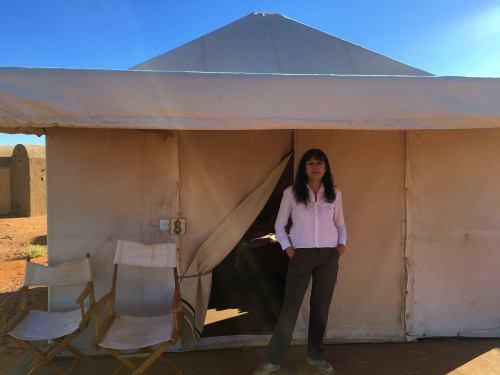 La tienda de campaña en Meroe Camp en Sudán