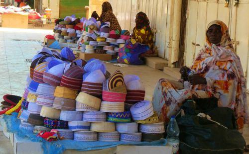 Vendedores en soportales de Khartoum (Jartum)